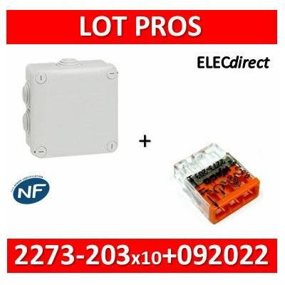 Legrand - Boîte de dérivation étanche IP55 - 105x105x55 + bornes Wago 3 trous fil rigide - 092022+2273-203x10