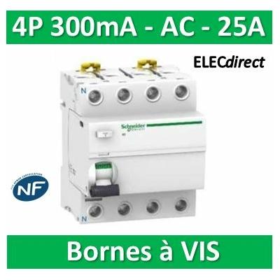 Schneider - Acti9, iID interrupteur différentiel 4P 25A 300mA type AC - A9R14425