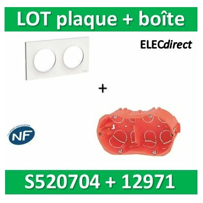 Schneider Odace - Plaque 2 postes + Boîte SIB 2 postes - Hor/vert - s520704+12971