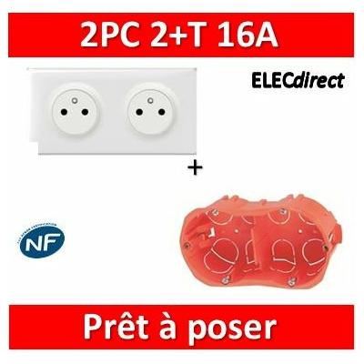 Legrand Céliane - Prêt à poser - 2 Prises 2P+T affleurante complet + boîte SIB 2 postes