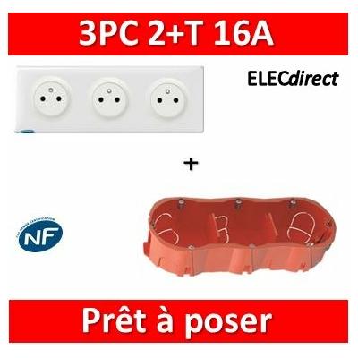 Legrand Céliane - Prêt à poser - 3 Prises 2P+T affleurante complet + boîte SIB 3 postes