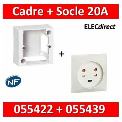 Legrand - Cadre saillie 80x80 pour socle à encastrer + Socle 2P+T 20A - 055422+055439