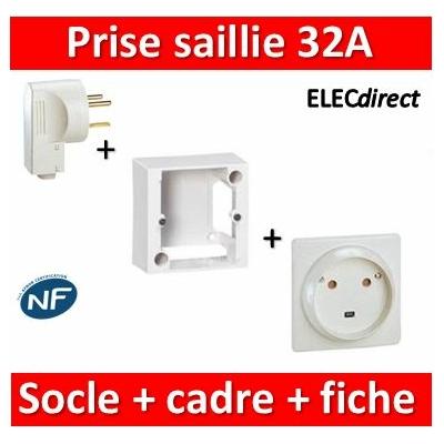 Legrand - Cadre saillie 100x100x36 + Socle 2P+T 32A + Fiche - 055849+055812+055802
