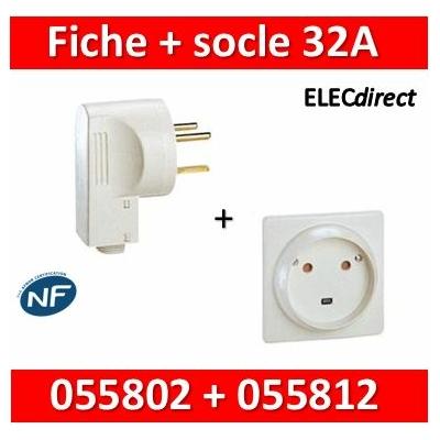 Legrand - Socle 32A - Plast - 2P+T - à VIS - éclips + Fiche 2P+T 32A - 055812+055802