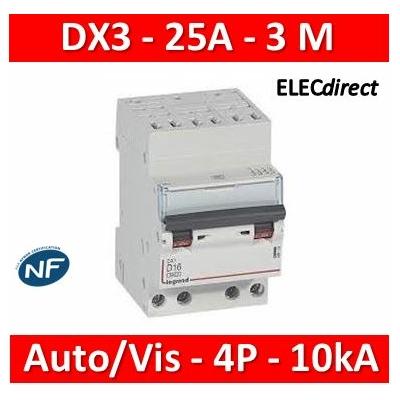 Legrand - Disjoncteur DX³ 6000 - auto/vis- 4P- 400V - 25A-courbeC - peigne HX³ opti 4P - 3M - 407916