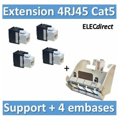 Tonna - 4 Embases RJ45 plastique Tél/Info - Cat5 - 250 MHz + support 4 RJ45  - 828625x4+828060