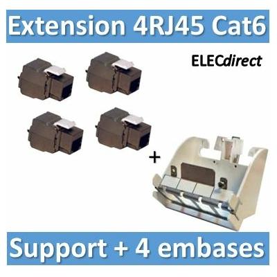 Tonna - Embase RJ45 blindée Tél/Info/TNT/Sat - Cat6 - 2150 MHz + support 4RJ45 - 828626x4+828060