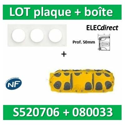 Schneider Odace - Plaque 3 postes + Boîte Batibox BBC Legrand 3 postes - Hor/vert Prof. 50 - s520706+080033
