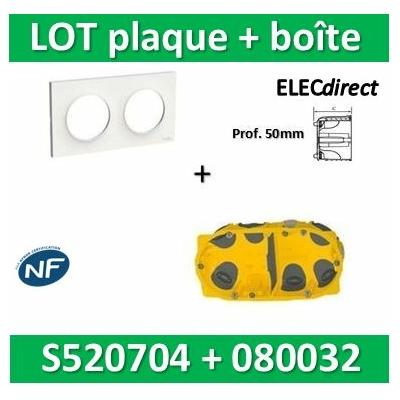 Schneider Odace - Plaque 2 postes + Boîte Batibox BBC Legrand 2 postes - Hor/vert Prof. 50 - s520704+080032