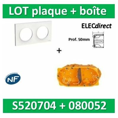Schneider Odace - Plaque 2 postes + Boîte Batibox Legrand 2 postes - Hor/vert Prof. 50 - s520704+080052