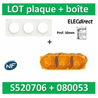Schneider Odace - Plaque 3 postes + Boîte Batibox Legrand 3 postes - Hor/vert Prof. 50 - s520706+080053