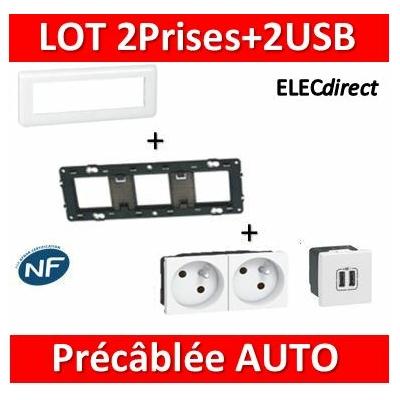 Legrand Mosaic - 2Prises Précâblée + 2 USB complet - 3 postes (6M) - horizontale - 230V