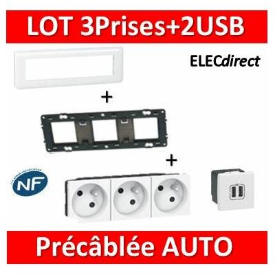 Legrand Mosaic - 3Prises Précâblée + 2 USB complet - 4 postes (8M) - horizontale - 230V