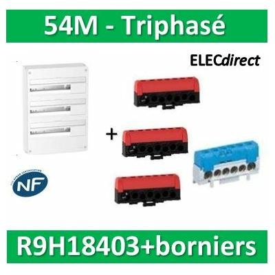 Schneider - Resi9 - LOT PROS - coffret 18M - 3R + bornier 3 phases+Neutre - R9H18403+R9H13411x2