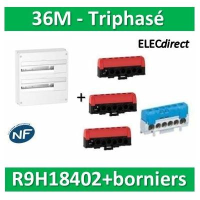 Schneider - Resi9 - LOT PROS - coffret 18M - 2R + bornier 3 phases+Neutre - R9H18402+R9H13411x2