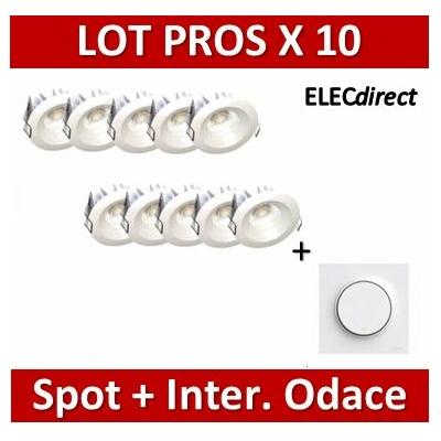 Lited - LOT PROS - Spot LED 10W MonoLED - 3000K - 676lm x10 + Va et vient Odace complet