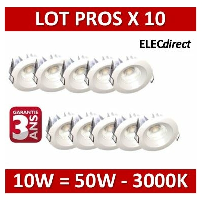 Lited - LOT PROS - Spot LED 10W MonoLED - 3000K - 676lm x10
