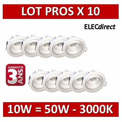 Lited - LOT PROS - Spot LED 10W MonoLED Orientable - 3000K - 676lm x10