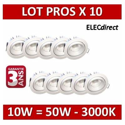 Lited - LOT PROS - Spot LED 10W MonoLED Orientable - 3000K - 676lm x10