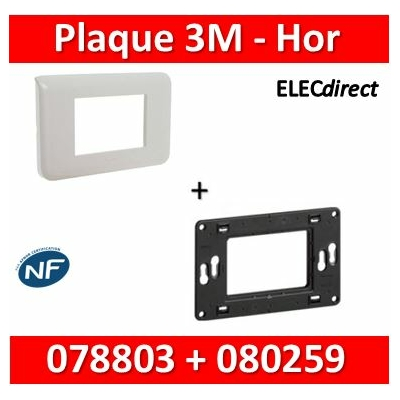 Legrand Mosaic - Plaque 3 modules + support - horizontal - 078803+080259