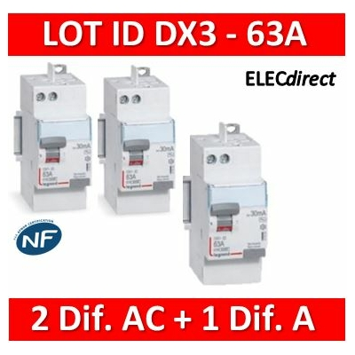 LEGRAND - LOT de 3 inter différentiels DX3 - (2 - ID 2x63A 30mA AC - ID 2x63A 30mA A) 411650x2 + 411651