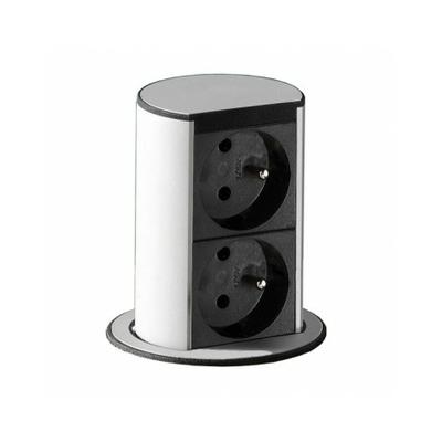 Bachmann - Elevator courant fort - 2 PC 2P+T à 35° - aspect acier inox. - 928.007