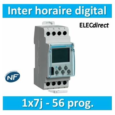 Hager - Interrupteur horaire hebdomadaire digital avec réserve de marche - EG103B