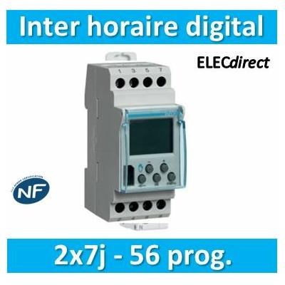 Hager - Interrupteur horaire hebdomadaire digital avec réserve de marche - EG203B