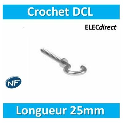 SIB - Crochet DCL, piton non isolé L = 25 mm pour boîte de centre