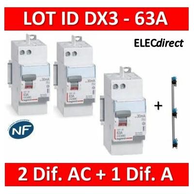 LEGRAND - LOT de 3 inter différentiels DX3 - (2 - ID 2x63A 30mA AC - ID 2x63A 30mA A) + Peigne 3R