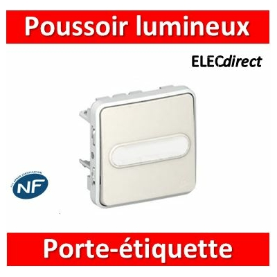 Legrand - Poussoir NO lumineux à porte-étiquette Plexo composable blanc - 10 A - 069633