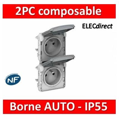 Legrand - Double prises 2P+T verticales précâblées Plexo composable blanc - 16A - 250V - 069643