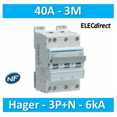 Hager - Disj.3P+N 6-10kA C-40A 3m - NFT840
