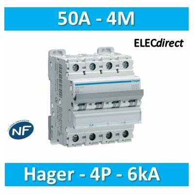 Hager - Disjoncteur 4P 6-10kA C-50A 4m - NFN450