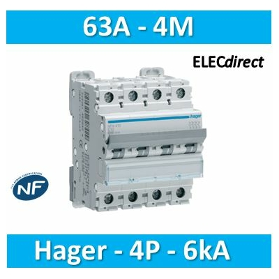 Hager - Disjoncteur 4P 6-10kA C-63A 4m - NFN463