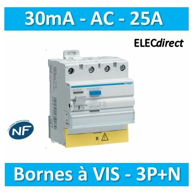 Hager - Interrupteur différentiel - 3P+N 25A - 30mA AC BD - CD825F