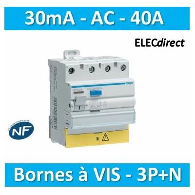 Hager - Interrupteur différentiel - 3P+N 40A - 30mA AC BD - CDC840F