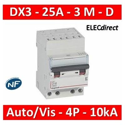Legrand - Disjoncteur DX³ 6000-auto/vis-4P-400V~-25A-10kA-courbe D-peigne HX³ opti 4P - 3M - 408135