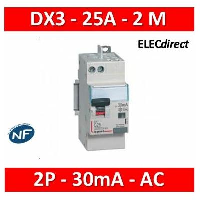 Legrand - Disjoncteur diff DX³ 4500 - vis/auto -U+N 230V~ 25A -typeAC - 30mA -courbe C - 2M - 410719
