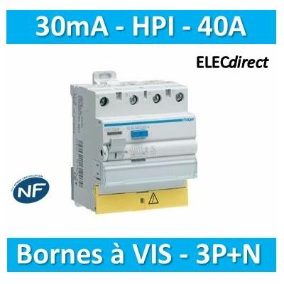 HAGER - Interrupteur différentiel 3P+N 40A 30mA HI BD - CDH840F
