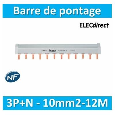 HAGER - Barre pont 3P+N lang. 10mm² 12m - KB463A