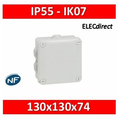 Legrand - Boîte de dérivation carrée Plexo gris - 130 x 130 x 74 mm - 092032