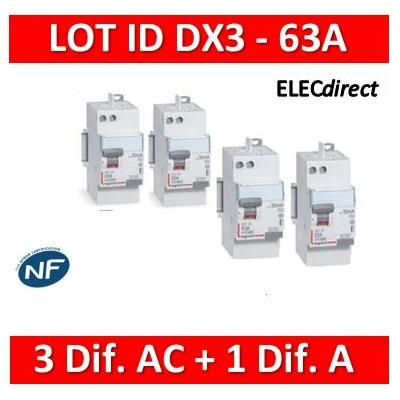 LEGRAND - LOT de 4 inter différentiels DX3 - (3 - ID 2x63A 30mA AC - ID 2x63A 30mA A) 411650x3 + 411651