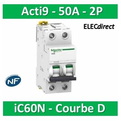 Schneider - Acti9-IC60N Disjoncteur 2P - 50 A Courbe D - A9F75250