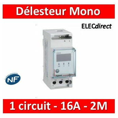 Legrand - Délesteur monophasé - 1 circuit délesté 16 A max - 2 modules - 412020