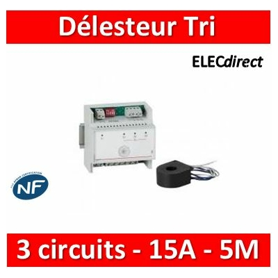 Legrand - Délesteur MONO / TRI - 3 circuits 15A max - 412021