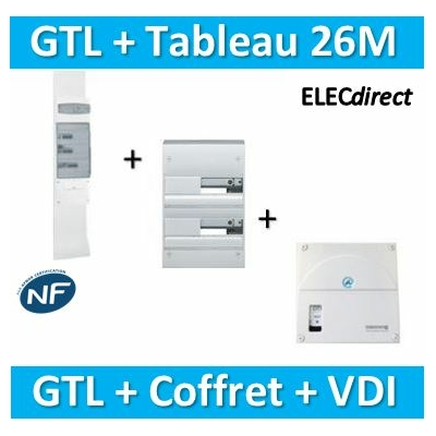 Hager - Kit GTL 13 Modules - 2 couvercles - 2x1,3m + tableau 26M + VDI 4RJ45 - JK213D+GD213A+TRIETG14X4
