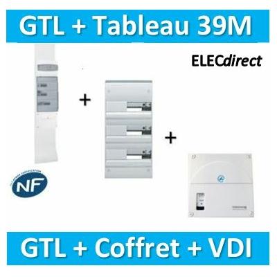 Hager - Kit GTL 13 Modules - 2 couvercles - 2x1,3m + tableau 39M + VDI 4RJ45 - JK213D+GD313A+TRIETG14X4