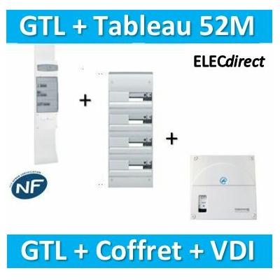 Hager - Kit GTL 13 Modules - 2 couvercles - 2x1,3m + tableau 52M + VDI 4RJ45 - JK213D+GD413A+TRIETG14X4