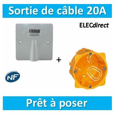 SIB - Sortie de câble 16/20A - à vis dim. 80x80 + boîte Legrand batibox - P11016+080041